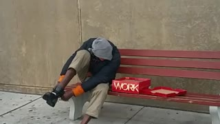 Police Officer Buys A Homeless Man Boots - Video