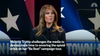 First lady challenges media: Devote more time to opioid crisis.