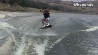 Collab copyright protection - man blue shorts water ski fall - Video