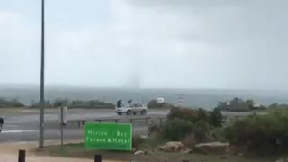 Wild Wind Whips Up Vortex Over the Ocean as Storms Hit Adelaide - Video