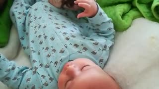 Bulldog and baby share very special friendship