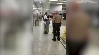 Woman has a meltdown after trying to board a flight barefoot in Miami