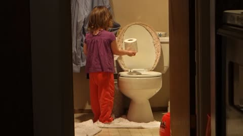 Little Tot Caught Red-Handed Dumping Paper Into Toilet