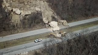 Drone Footage of Giant Rock Slide Aftermath - Video