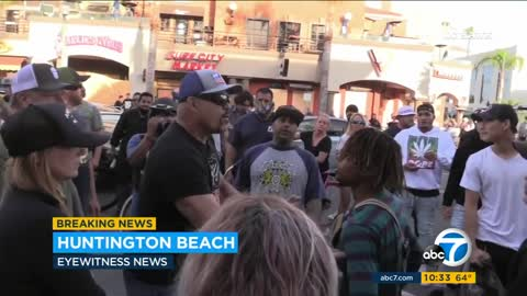 Chuck Liddell on hand in Huntington Beach protests