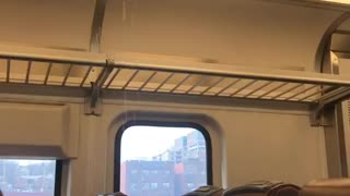 Water dripping from top of train - Video