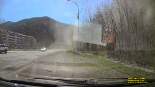 Truck Loses Control in Close Call