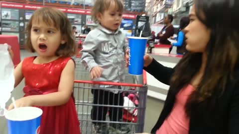 toddler freaks out when her hot dog is gone!