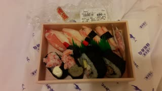 Day 2 Take Out Sushi Dinner in Japan - crab sushi  - Video