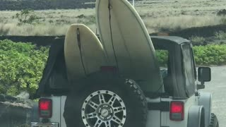 Cars driving with surfboards onto beach - Video
