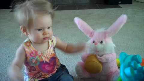 Easter Bunny Teaches Baby Girl Some New Dance Moves