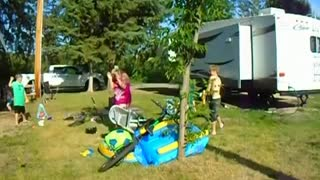 Mom gets hit in face with water balloon, in Slow Motion, Hilarious, must watch kids reaction funny ! - Video
