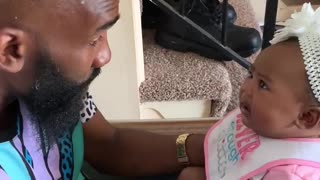 Dad Successfully Keeps Baby Girl From Crying In Hilarious Fashion