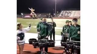 High school drummer does routine blindfolded