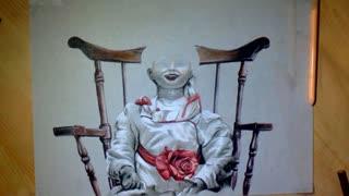 Realistic speed drawing of haunted doll 'Annabelle' - Video