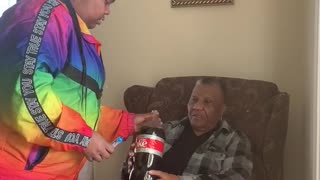 Girl Gets Grandmother with Soda Gag