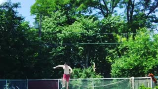 Collab copyright protection - man in red shorts break diving board - Video