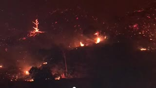 La Tuna Canyon Wildfire Up Close - Video