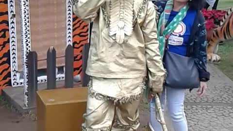 gold man in Baguio Philippines.