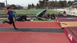 Collab copyright protection - blue shirt red track pole vault fail - Video