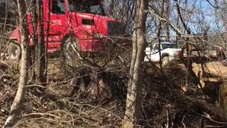 Mobile Home Moving Over Creek - Video