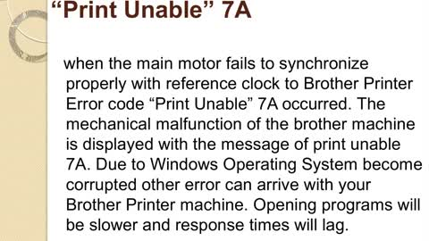 "How to fix Brother Printer Error code ""Print Unable"" 7A"