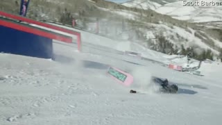 Snowboarder Suffers Heavy Slam during Practice