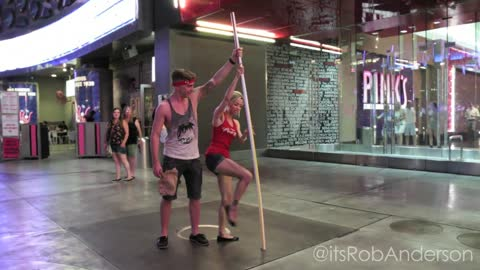 Giant magic straw prank on Las Vegas Strip