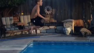 Dad Breaks Kid's Diving Board In Epic Pool Fail - Video