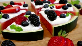 Watermelon and fruit pizza recipe - Video