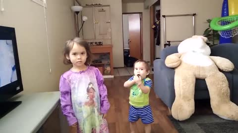 toddler gets a spooky surprise from her father!