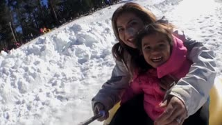 Sledding with a selfie stick