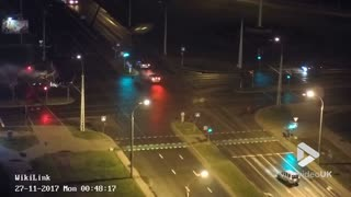 Car collides with street lighting