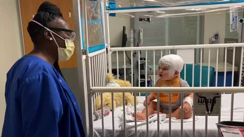 Hospitalized baby has heart-melting dance party with hospital tech