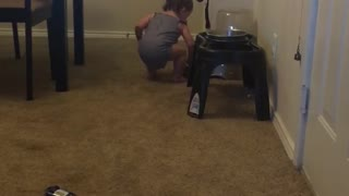 Baby tries filling dog bowl with water using only her hand - Video