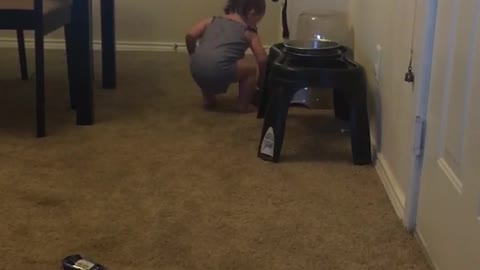 Baby tries filling dog bowl with water using only her hand