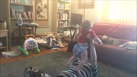 "Baby ""Helps"" Mom with Yoga"