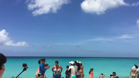 Airplane landing in the Caribbean