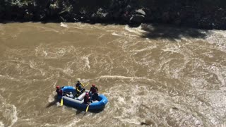 Whitewater Rafting Guides Practice Flipping Raft