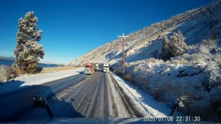 Big Rig Emerges From Icy Accidents Unscathed