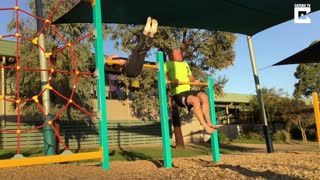 Funny Dad Copies Daughter's Gymnastic Moves - Video