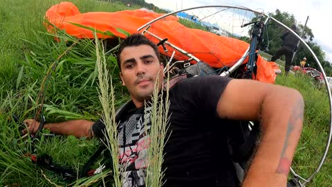 Paraglider Crashes into High Tension Wire