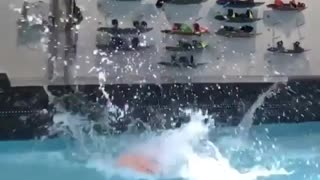Collab copyright protection - woman is pulled into pool fail - Video