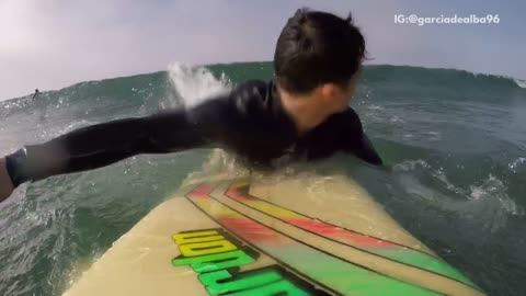 Guy selfie surfer wiped out by wave
