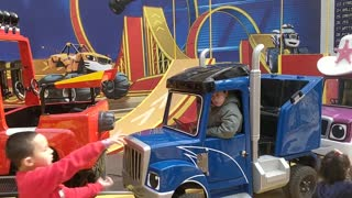 Driving a truck at Nickelodeon Universe