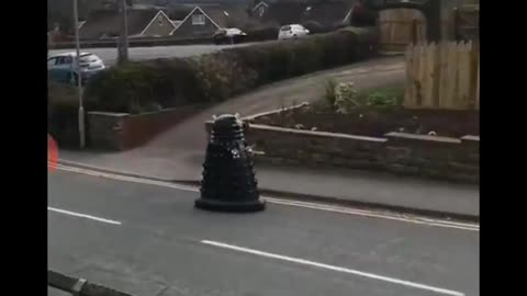 Sandford Police use a Dalek to order people to stay inside