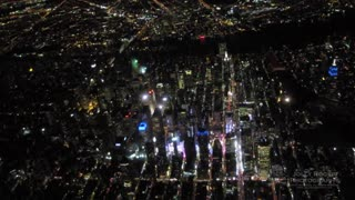 Stunning Night Flight View Over New York City - Video