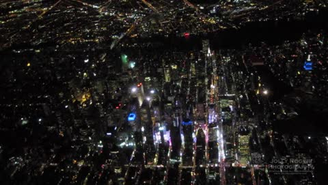 Stunning Night Flight View Over New York City