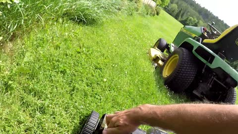 Genius way to mow lawn in half the time