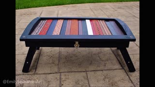 DIY upcycled table using leather belts